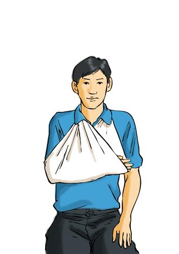 三角巾包扎法手臂骨折分享展示